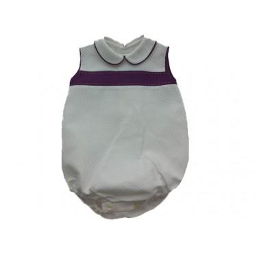White - Purple Duo Romper Suit