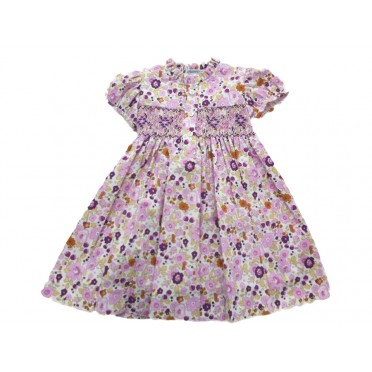 Pink - Purple Garden Smocked Dress