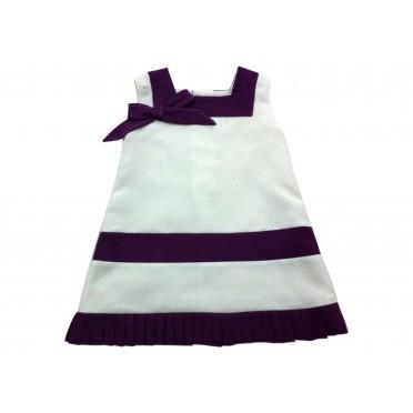 White - Purple Duo Girl Dress